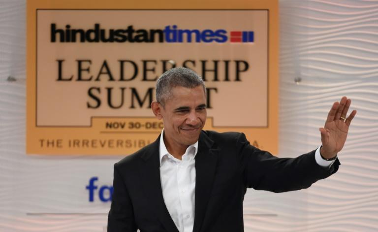 Former US president Barack Obama, seen speaking in 2017 in New Delhi at the Hindustan Times Leadership Summit, has made light of opposition figure Rahul Gandhi in a new memoir