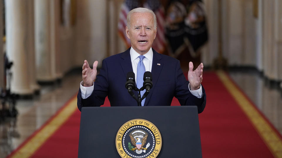 President Joe Biden speaks about the end of the war in Afghanistan from the State Dining Room of the White House, Tuesday, Aug. 31, 2021, in Washington. (Evan Vucci/AP)