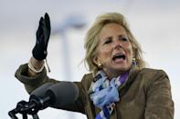 """<p>You'll also see her wearing her own signature """"stack"""" of bracelets, some braided with a few bangles mixed in. Dr. Biden also frequently wears printed scarves - we've seen her in this lightweight graphic print one more than once. </p>"""