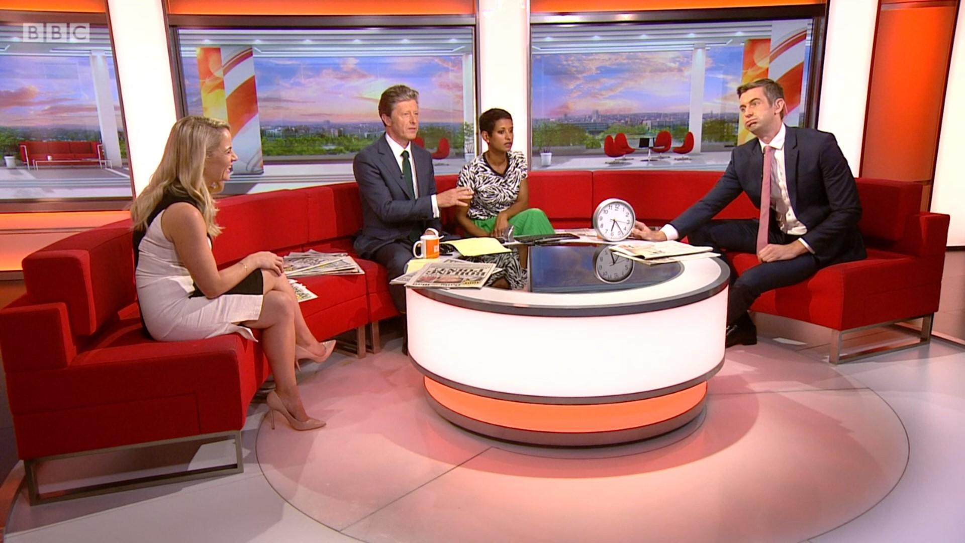 """Journalist Ben Thompson came to BBC Breakfast's rescue on Friday 26 July when """"technical problems"""" meant that the onscreen clock wouldn't display. (BBC)"""