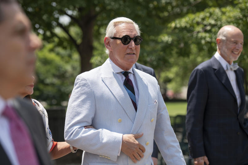 Roger Stone, a longtime confidant of President Donald Trump leaves federal court in Washington, Tuesday, July 16, 2019. (AP Photo/Sait Serkan Gurbuz)