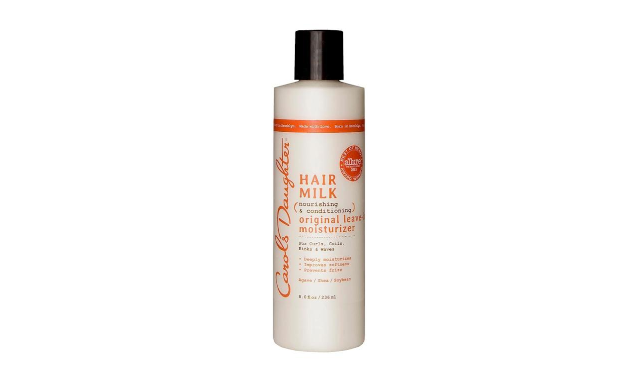 """<p>""""Dry curls equal frizzy curls. I work this nourishing sweet-almond oil and shea butter cream into wet hair to keep waves soft.""""</p> <p><strong>To buy:</strong> $12, <a href=""""http://goto.target.com/c/249354/81938/2092?subId1=RS%2CTheBestDrugstoreBeautyProducts%252CAccordingtoJenAtkin%2Ctiadmin%2CSTY%2CGAL%2C254373%2C201907%2CI&u=https%3A%2F%2Fwww.target.com%2Fp%2Fcarol-s-daughter-174-hair-milk-nourishing-and-conditioning-original-leave-in-moisturizer-8-0-fl-oz%2F-%2FA-15041863"""" target=""""_blank"""">target.com</a>.</p>"""