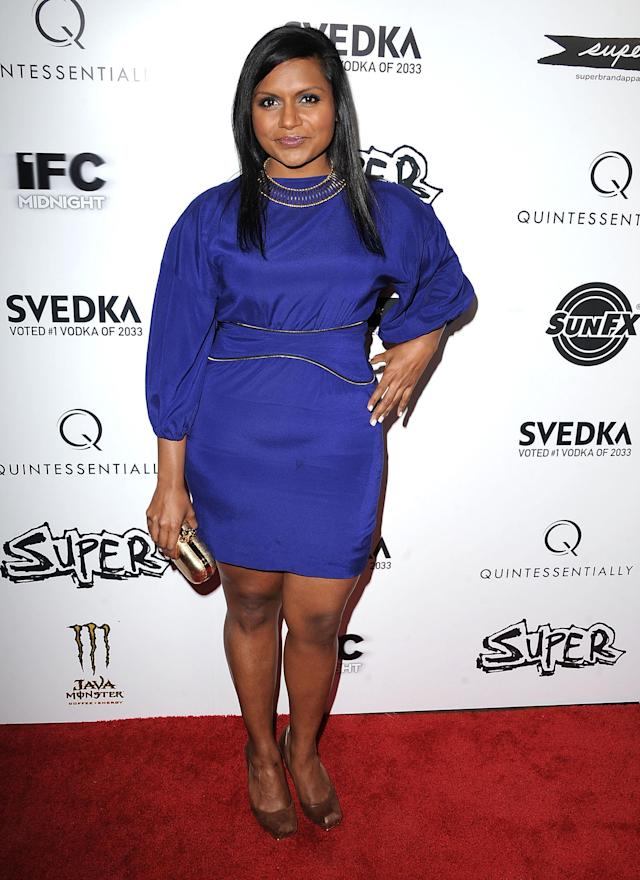 "HOLLYWOOD, CA - MARCH 21: Mindy Kaling attends the ""Super"" Los Angeles Premiere at the Egyptian Theatre on March 21, 2011 in Hollywood, California. (Photo by Steve Granitz/WireImage)"