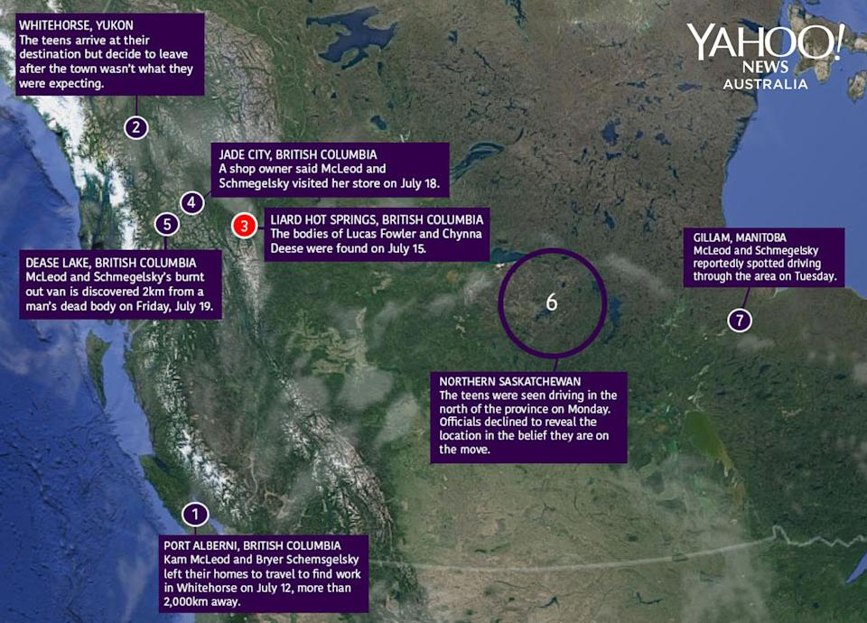 A map of Kam McLeod and Bryer Schmegelsk's movements across Canada. Source: Google Maps