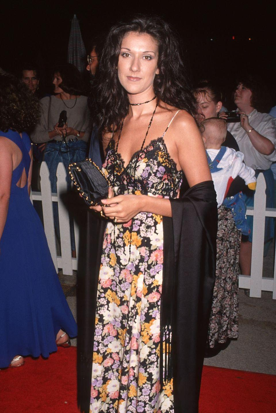 <p>Serving up a major '90s moment, the singer wore a floral maxi dress, long black shawl, and choker to the premiere of <em>Sleepless in Seattle</em>. </p>