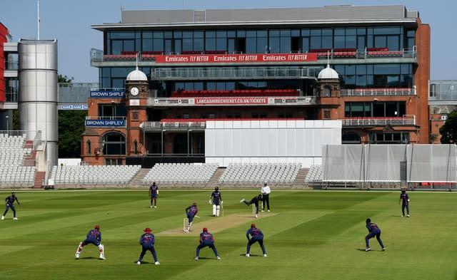 A general view of play during day two of a West Indies intra-squad warm-up match at Old Trafford.