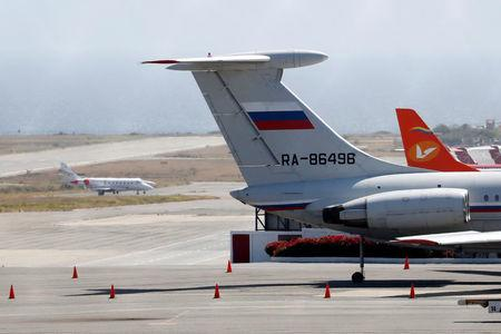 FILE PHOTO: An airplane with the Russian flag is seen at Simon Bolivar International Airport in Caracas