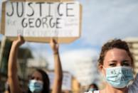 Protest against the death in Minneapolis police custody of George Floyd, in Barcelona
