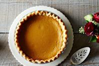 """<p>Caramelizing the pumpkin puree gives it a richer flavor and after just 25 minutes in the oven, this pie, from Meta Given's Modern Encyclopedia of Cooking, is ready for Thanksgiving pie-noshers. <a href=""""https://food52.com/recipes/15143-meta-given-s-pumpkin-pie"""" rel=""""nofollow noopener"""" target=""""_blank"""" data-ylk=""""slk:Get Meta Given's Pumpkin Pie recipe here at Food52."""" class=""""link rapid-noclick-resp""""><b>Get Meta Given's Pumpkin Pie recipe here at Food52</b>.</a> (<i>Photo: James Ransom/Food52)</i></p>"""