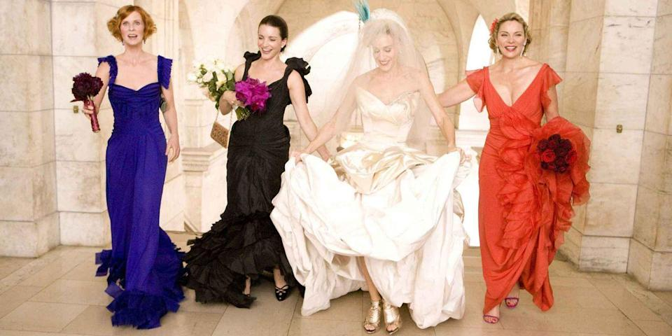 <p>It was the dress that started—and possibly ended?—the grand wedding of Carrie Bradshaw and John James Preston. Sadly, the Vivienne Westwood strapless satin ball gown Sarah Jessica Parker wore for the movie never made it down the aisle, but it did have its moment outside the New York Public Library.<br></p>