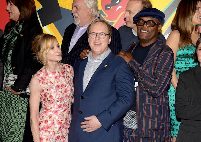"Director Brad Bird (C) -- shown with Holly Hunter and Samuel L. Jackson -- waited a full 14 years to release the sequel to the wildly popular first ""Incredibles"" film (AFP Photo/KEVIN WINTER)"