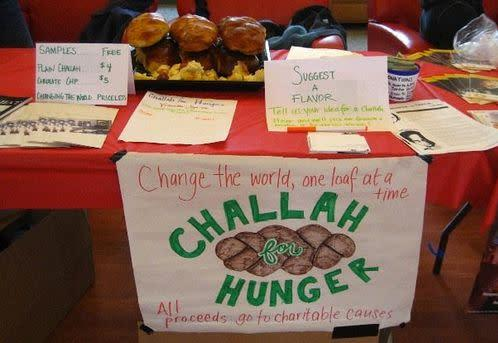 """<a href=""""http://www.challahforhunger.org"""" rel=""""nofollow noopener"""" target=""""_blank"""" data-ylk=""""slk:Challah for Hunger"""" class=""""link rapid-noclick-resp"""">Challah for Hunger</a> brings people together to raise money and awareness for social justice -- through challah bread. Our more than 40 chapters, on college campuses throughout the U.S. and beyond, engage young people in community, tradition, hands-on baking, activism and philanthropy."""