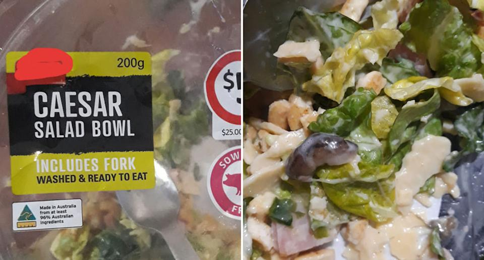 A Coles Caesar salad bowl and what appears to be a slug inside the bowl.