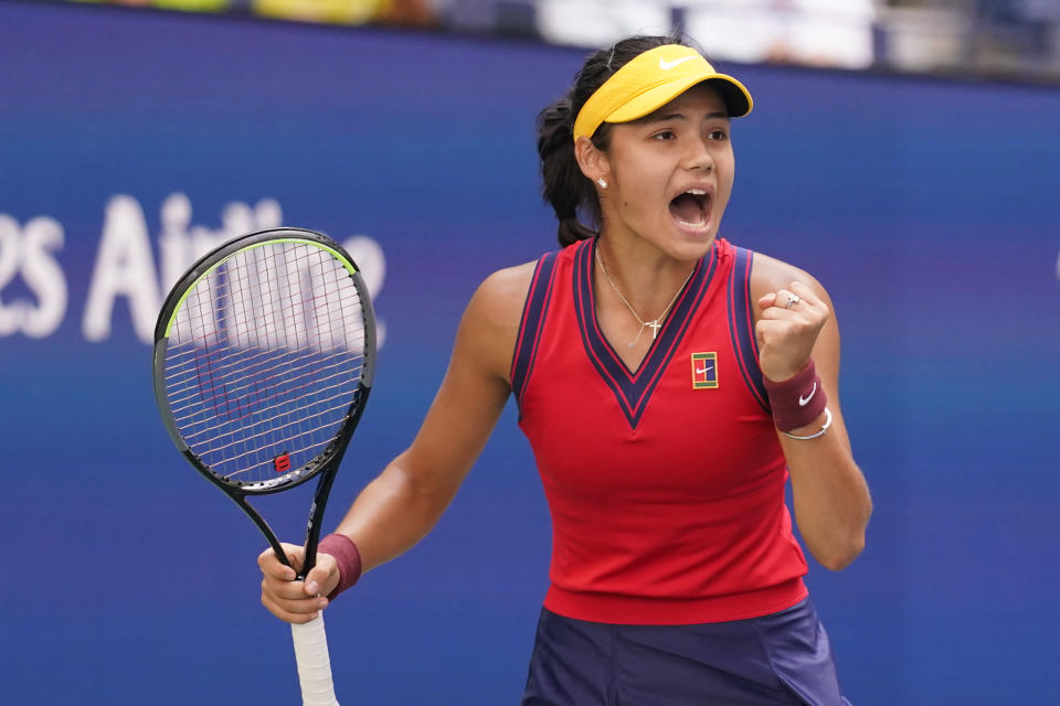 Emma Raducanu, of Britain, reacts to winning a point against against Shelby Rogers, of the United States, during the fourth round of the US Open tennis championships, Monday, Sept. 6, 2021, in New York. (AP Photo/Seth Wenig)