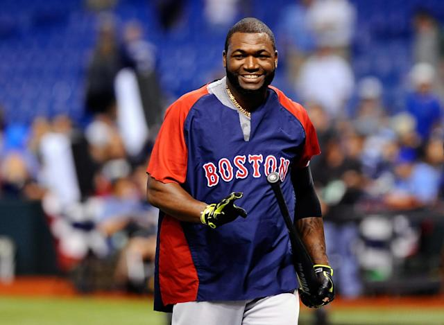 ST. PETERSBURG, FL - OCTOBER 08: David Ortiz #34 of the Boston Red Sox smiles during batting practice before Game Four of the American League Division Series against the Tampa Bay Rays at Tropicana Field on October 8, 2013 in St. Petersburg, Florida. (Photo by Brian Blanco/Getty Images)