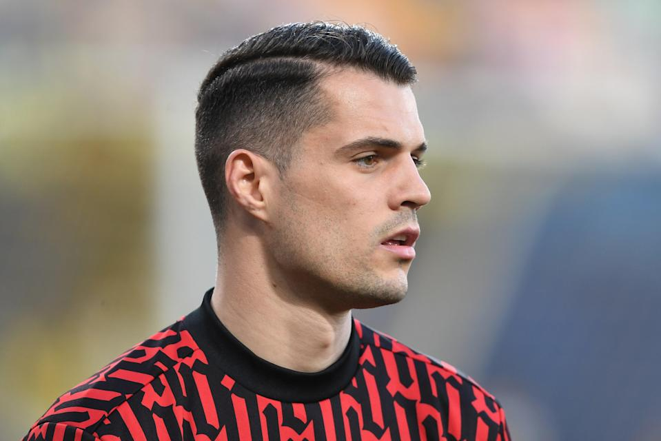<p>Granit Xhaka is open to leaving Arsenal after five years</p> (Arsenal FC via Getty Images)
