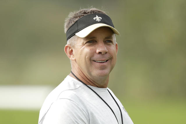 Sean Payton apparently got bored and made a deal on the last day of the draft. (AP Photo/Matt Dunham)