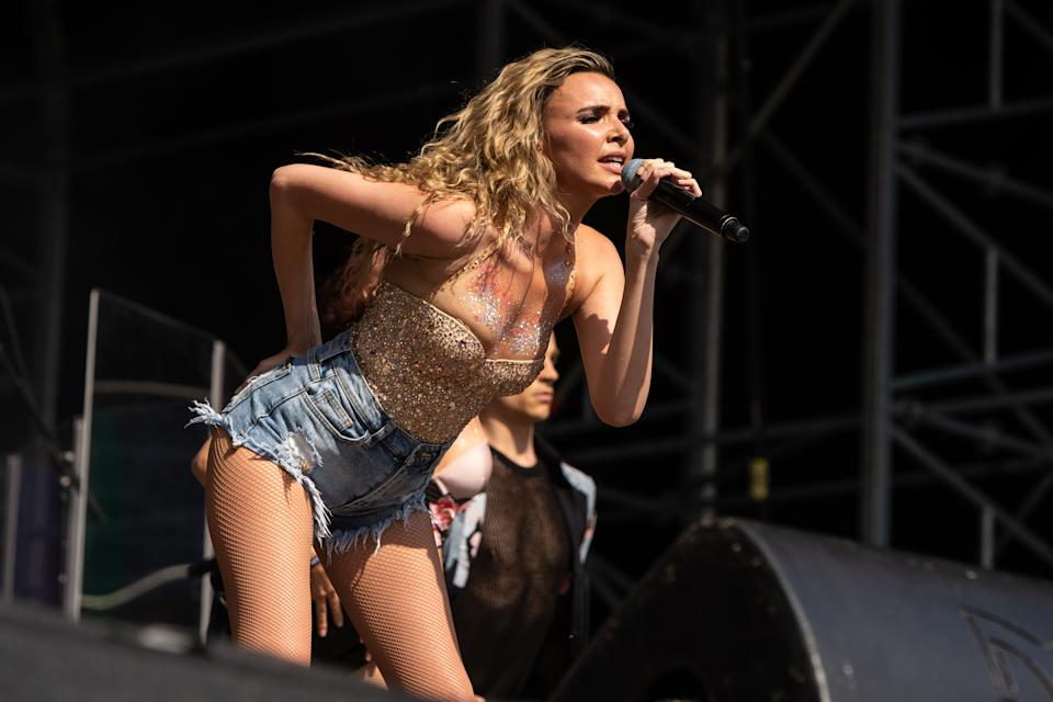 LONDON, ENGLAND - JUNE 03:  Nadine Coyle performs at Mighty Hoopla at Brockwell Park on June 3, 2018 in London, England.  (Photo by Lorne Thomson/Redferns)