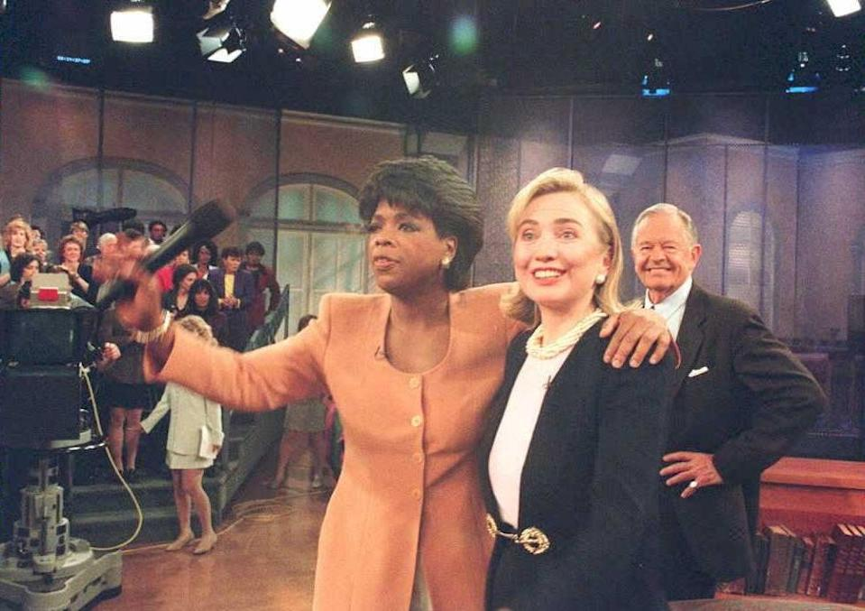 Women on top: Oprah with then First Lady Hillary ClintonAFP via Getty Images
