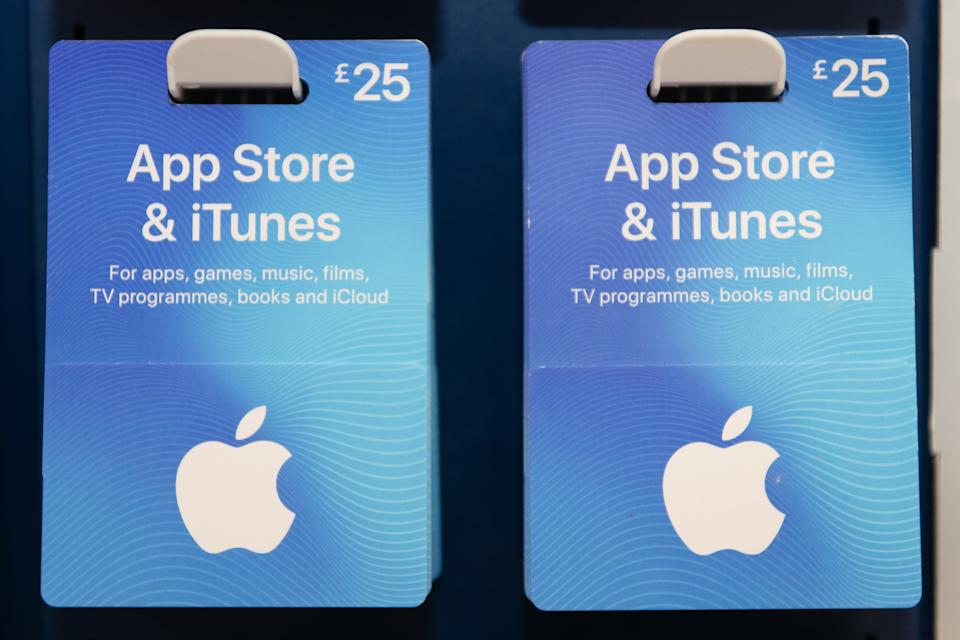 Apple iTunes and App Store vouchers. (Matthew Horwood/Getty Images)