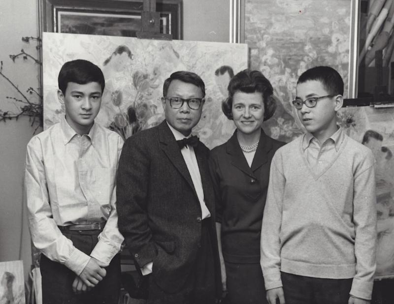 A 1963 photograph of Pierre Le-Tan's brother, Alain; his father, the artist Le Pho; his mother, Paulette; and Pierre.