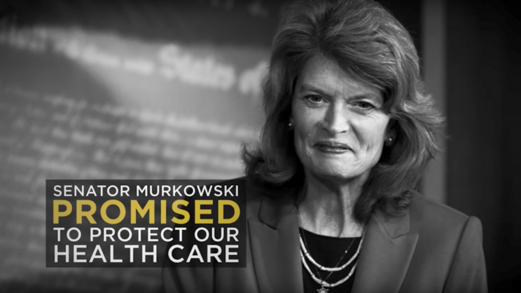 A screen grab of a released by Save My Care targeting Sen. Lisa Murkowski, R-Alaska.