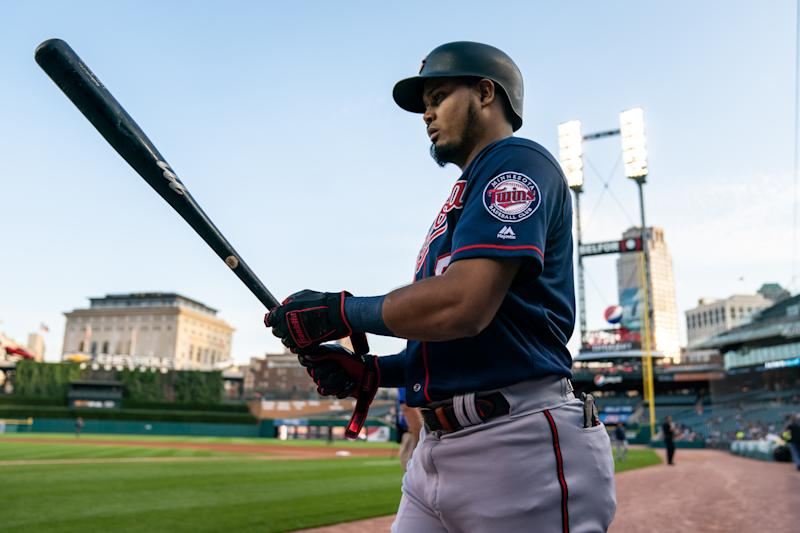 Luis Arraez #2 of the Minnesota Twins looks on against the Detroit Tigers