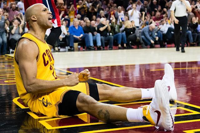 Richard Jefferson of the Cleveland Cavaliers reacts after scoring during the second half against the Washington Wizards at Quicken Loans Arena (AFP Photo/Jason Miller)