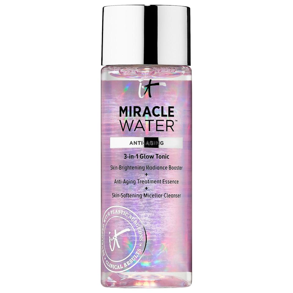 "<p>With an average 4.5-star rating from other shoppers, the <a href=""https://www.popsugar.com/buy/Cosmetics-Miracle-Water-Micellar-Cleanser-586894?p_name=IT%20Cosmetics%20Miracle%20Water%20Micellar%20Cleanser&retailer=sephora.com&pid=586894&price=15&evar1=bella%3Aus&evar9=47595992&evar98=https%3A%2F%2Fwww.popsugar.com%2Fphoto-gallery%2F47595992%2Fimage%2F47595996%2FIT-Cosmetics-Miracle-Water-Micellar-Cleanser&list1=sephora%2Ccleanser%2Cbeauty%20shopping%2Cskin%20care&prop13=api&pdata=1"" class=""link rapid-noclick-resp"" rel=""nofollow noopener"" target=""_blank"" data-ylk=""slk:IT Cosmetics Miracle Water Micellar Cleanser"">IT Cosmetics Miracle Water Micellar Cleanser</a> ($15) is a popular choice to remove makeup, oil, and dirt. In addition to the softening micellar water inside, there are also collagen and peptides to firm skin at the same time.</p>"