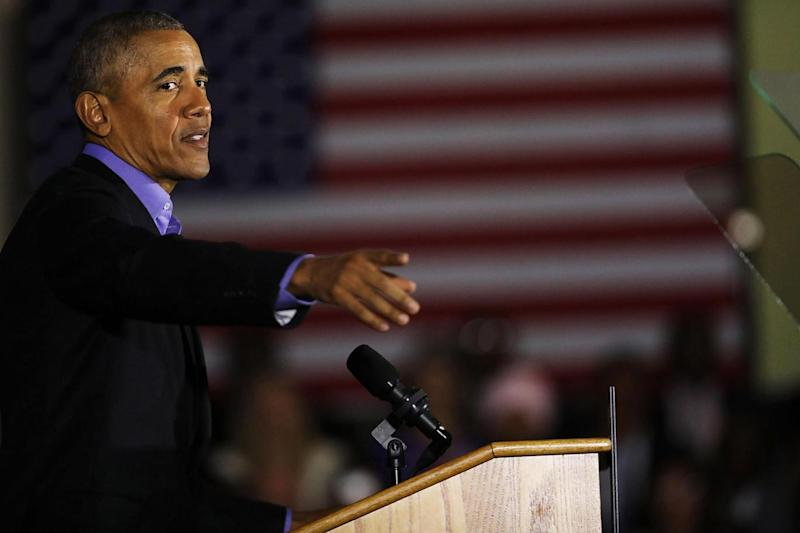 Barack Obama implied Donald Trump had set the US 'back 50 years' as a he spoke at a political rally in Newark, New Jersey (Getty Images)
