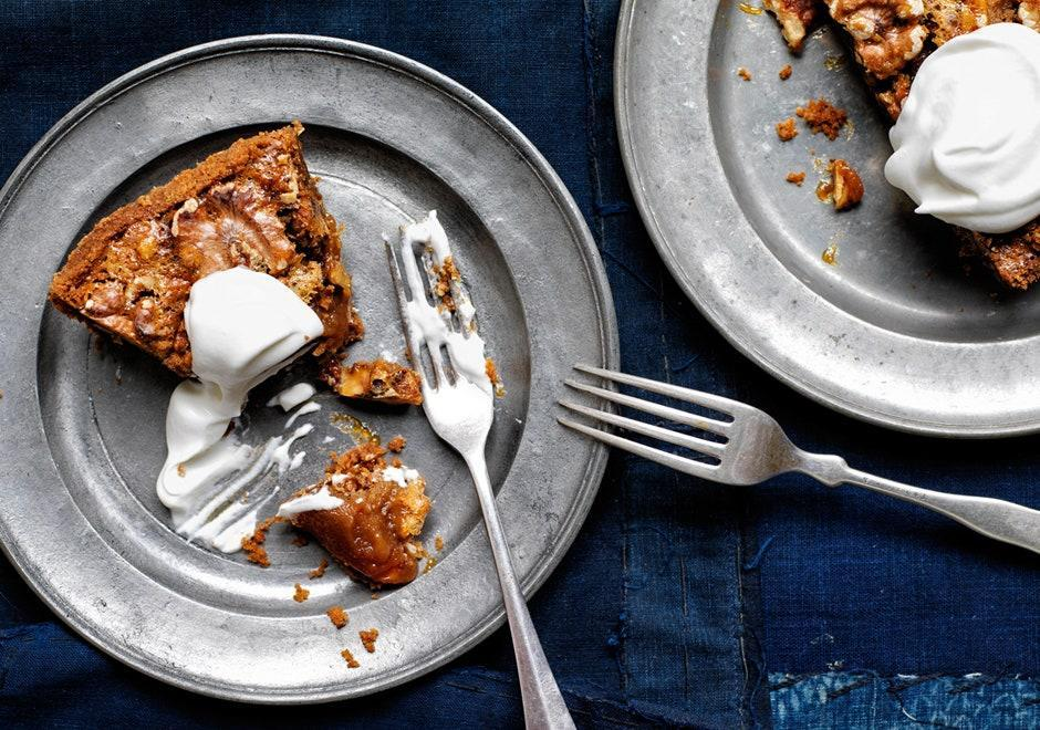 """Adding barley malt syrup offers a rounder, less-sweet note in this take on pecan pie. Look for it at health food stores. <a href=""""https://www.bonappetit.com/recipe/malted-walnut-pie?mbid=synd_yahoo_rss"""" rel=""""nofollow noopener"""" target=""""_blank"""" data-ylk=""""slk:See recipe."""" class=""""link rapid-noclick-resp"""">See recipe.</a>"""