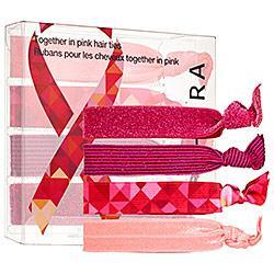 No one likes a ponytail dent! These four hair ties come in an assortment of pink colors, textures, and patterns and $1 from each set goes to the Breast Cancer Research Foundation.