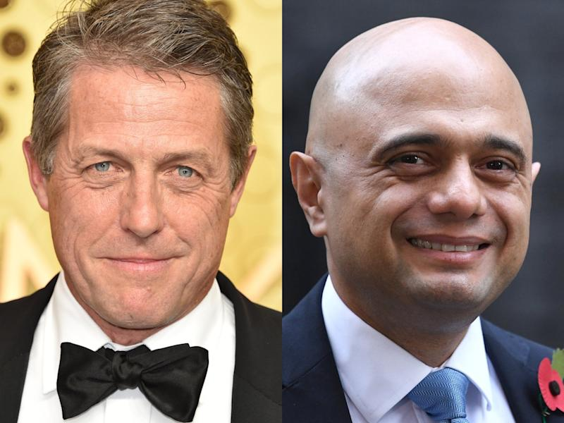 Hugh Grant has hit out at chancellor Sajid Javid and certain news publications for omitting the real reason he refused to shake the politician's hand at a recent film premiere (John Shearer/Daniel Leal/Getty Images)