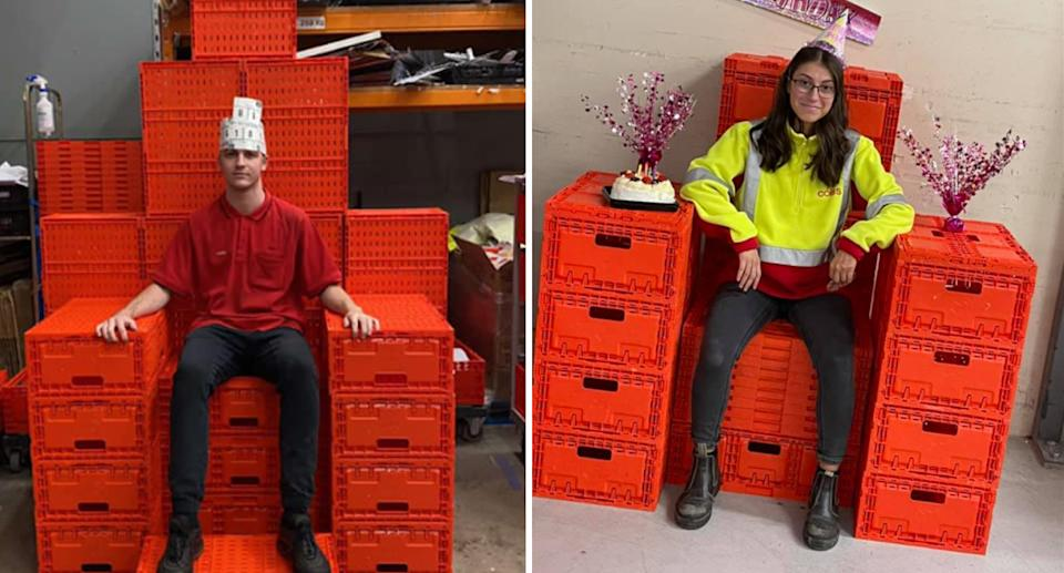 A man and a woman sitting on red crates at Coles in two separate photos.