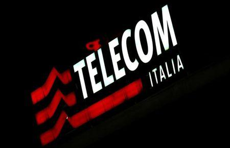 The Telecom Italy logo is seen at the headquaters downtown Milan
