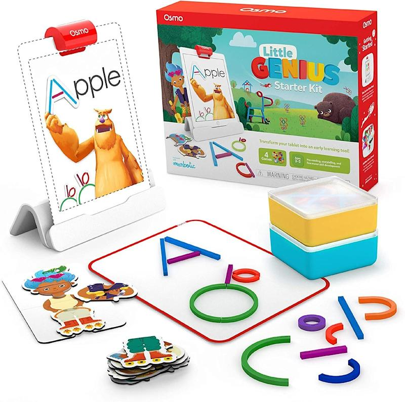 """<a href=""""https://amzn.to/368tghZ"""" target=""""_blank"""" rel=""""noopener noreferrer"""">This kit</a> has preschool learning tools, with four educational games. Kids can learn their ABCs,get some drawing done and developproblem-solving skills. You'll need an iPad to get started.<a href=""""https://amzn.to/368tghZ"""" target=""""_blank"""" rel=""""noopener noreferrer"""">Find it for $80 at Amazon</a>."""
