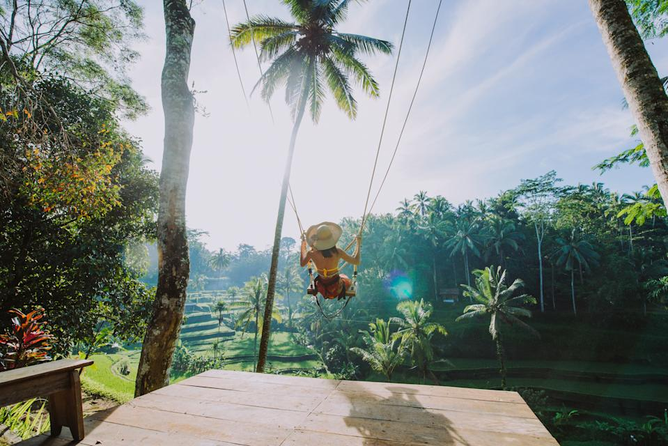 Woman using a swing over the jungle and Bali rice fields in Tegalalang, Ubud