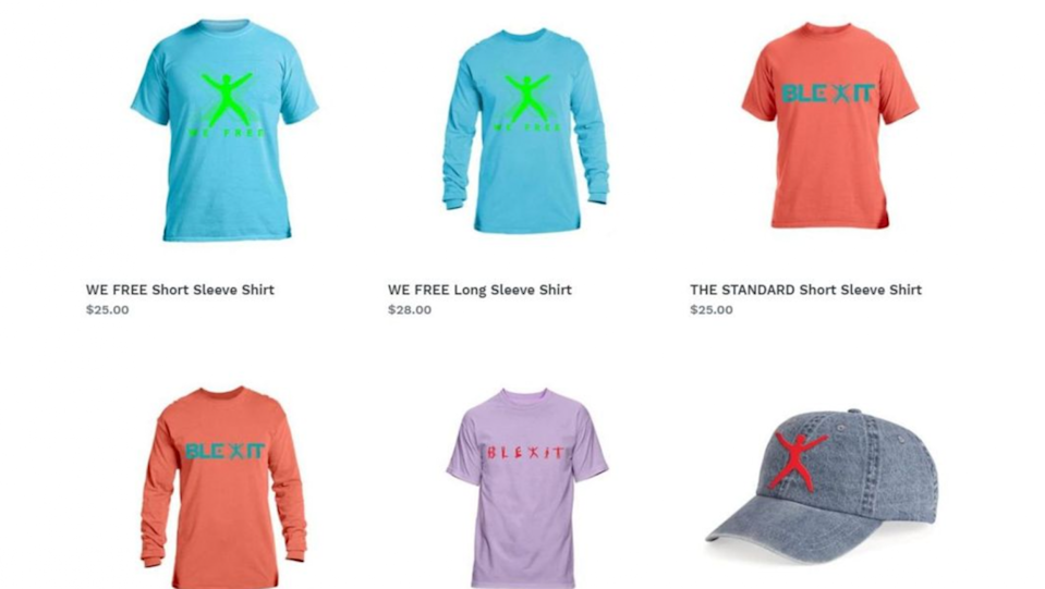 Kanye West has designed the above 'Blexit' clothes