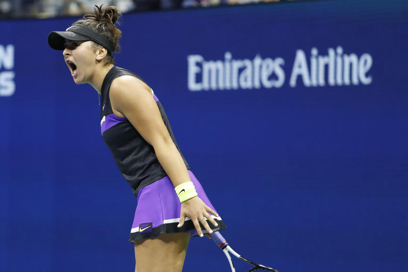 Sep 2, 2019; Flushing, NY, USA; Bianca Andreescu of Canada reacts to winning a point against Taylor Townsend of the United States (not pictured) in the fourth round on day eight of the 2019 US Open tennis tournament at USTA Billie Jean King National Tennis Center. Mandatory Credit: Geoff Burke-USA TODAY Sports