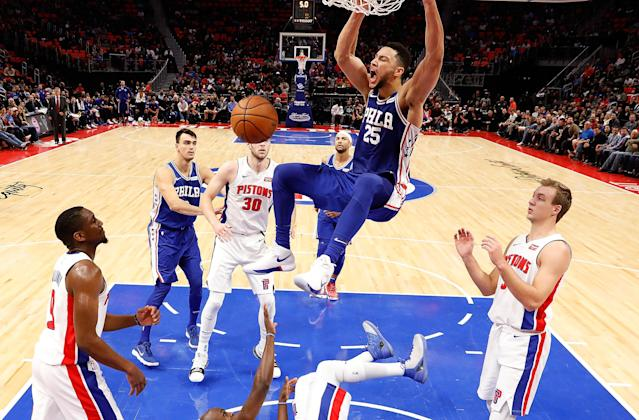 "<a class=""link rapid-noclick-resp"" href=""/nba/players/5600/"" data-ylk=""slk:Ben Simmons"">Ben Simmons</a> lets loose a primal scream after throwing down a dunk in the 76ers' win over the Pistons. (Getty)"