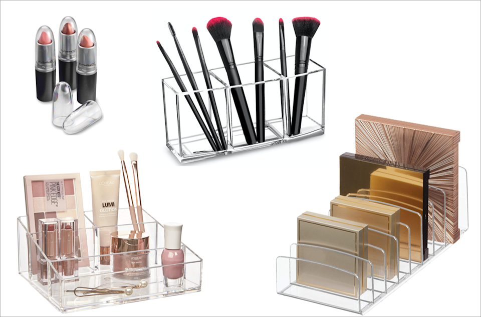 Separate makeup into categories. Then organize further with tools like these clear lipstick caps and palette stands, available on Amazon. (Photo: Amazon)