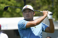 Sung Kang, of South Korea, watches his shot off the tee on the first hole during the first round of the AT&T Byron Nelson golf tournament, Thursday, May 13, 2021, in McKinney, Texas. (AP Photo/Tony Gutierrez)