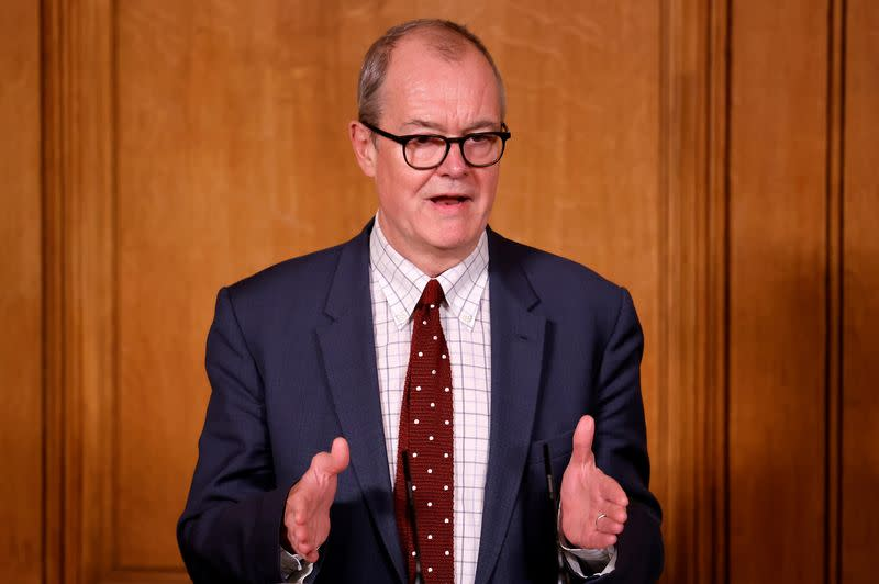 Britain's Chief Scientific Adviser Patrick Vallance speaks during a virtual news conference in London