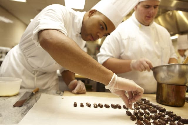 Culinary Institute of America. CIA Class, culinary school, cooking lesson, cooking techniques.Making chocolate desserts.