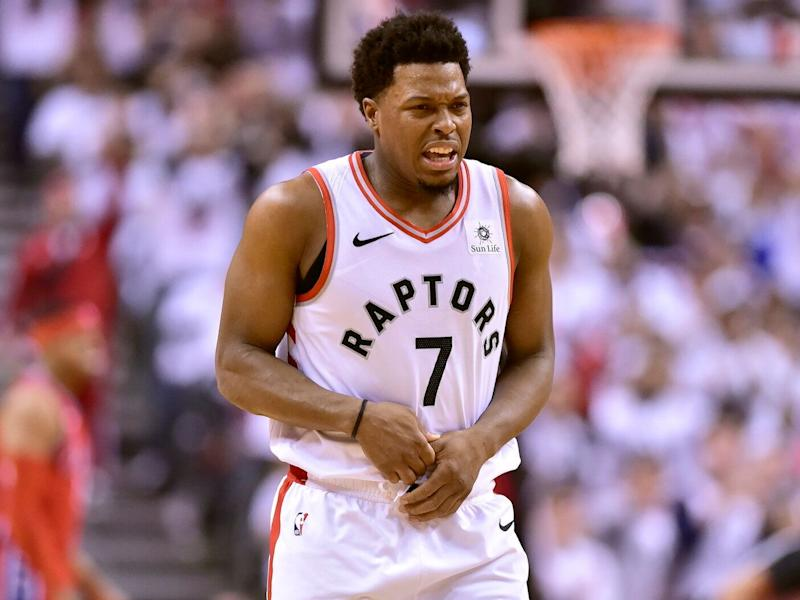 Kyle Lowry had a brief injury scare during the Toronto Raptors' Game 7 victory over the Philadelphia 76ers. (Frank Gunn/The Canadian Press via AP)