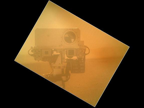 On Sol 32 (Sept. 7, 2012) the Curiosity rover used a camera located on its arm to obtain this self portrait. The image of the top of Curiosity's Remote Sensing Mast, showing the Mastcam and Chemcam cameras, was acquired by the Mars Hand Lens Im
