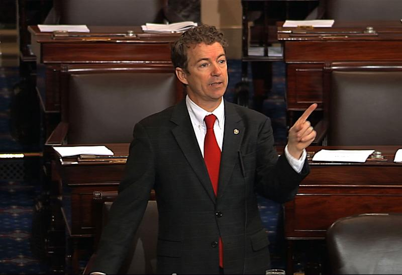 This video frame grab provided by Senate Television shows Sen. Rand Paul, R-Ky. speaking on the floor of the Senate on Capitol Hill in Washington, Wednesday, March 6, 2013. Senate Democrats pushed Wednesday for speedy confirmation of John Brennan's nomination to be CIA director but ran into a snag after a Paul began a lengthy speech over the legality of potential drone strikes on U.S. soil. But Paul stalled the chamber to start what he called a filibuster of Brennan's nomination. Paul's remarks were centered on what he said was the Obama administration's refusal to rule out the possibility of drone strikes inside the United States against American citizens.  (AP Photo/Senate Television)