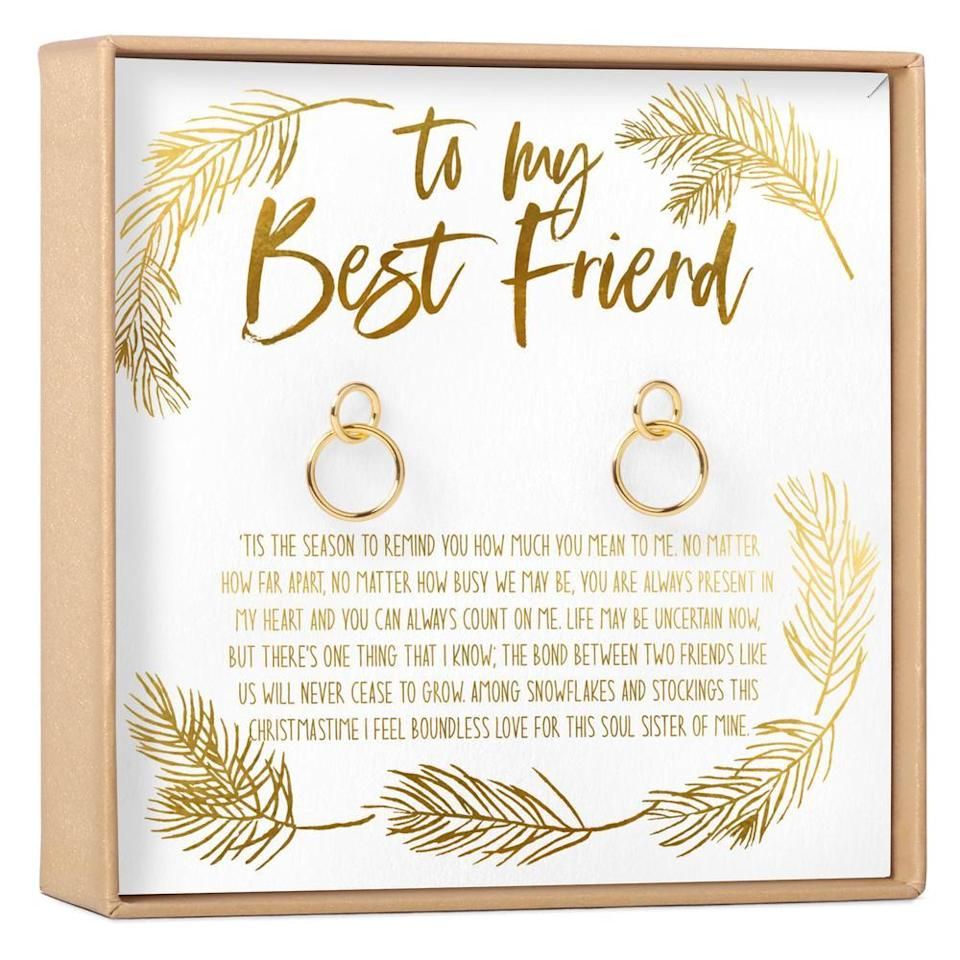 """<br><br><strong>Dear Ava</strong> Christmas Gift for Best Friend Earrings, $, available at <a href=""""https://go.skimresources.com/?id=30283X879131&url=https%3A%2F%2Ffave.co%2F36MUQzR"""" rel=""""nofollow noopener"""" target=""""_blank"""" data-ylk=""""slk:Dear Ava"""" class=""""link rapid-noclick-resp"""">Dear Ava</a>"""
