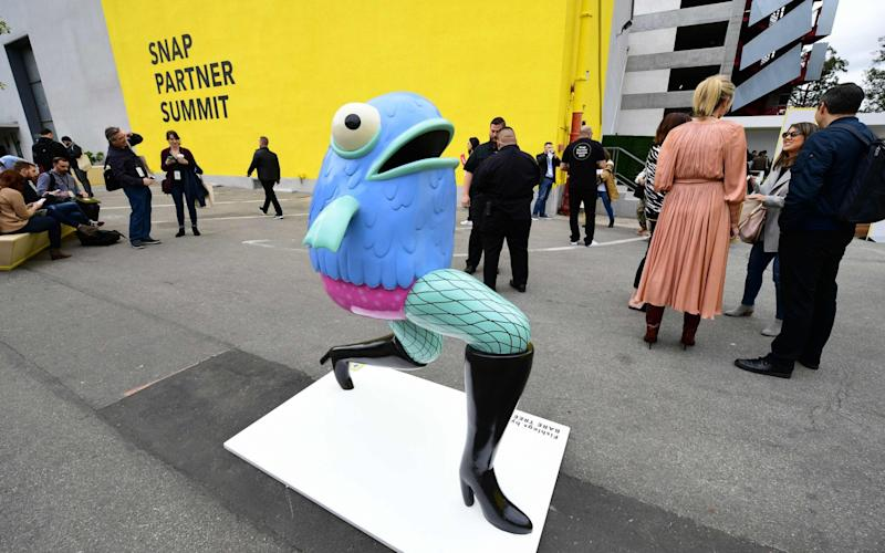 A sculpture of one of Snapchat's augmented reality characters at a conference in West Hollywood, California - AFP