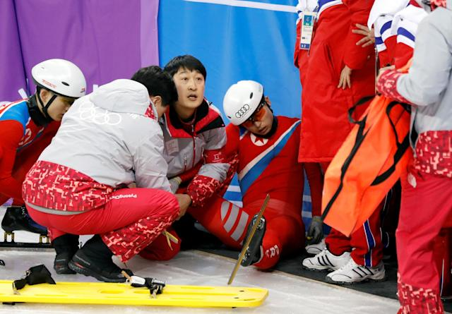 North Korea's short track speed skater Choe Un Song is seen injured after falling on the ice during a training session at the Gangneung Ice Arena in Gangneung, South Korea, February 2, 2018. REUTERS/Kim Hong-Ji